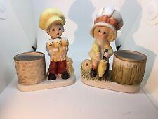 Jasco Little Luvkins 2 porcelain votive candle holders 1978
