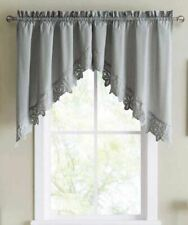"""NEW JCP Home Hanna Kaitlyn Swag Valance Pair 70x38"""" Gray Floral Eyelet Trim"""