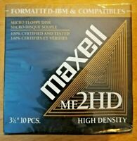 "Maxell High Density MF2HD 3.5"" 10 Pack Floppy Disks Mac IBM Formatted Sealed NIP"