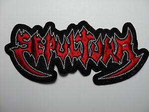 sepultura red  shaped patch EMBROIDERED PATCH