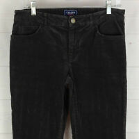 CHAPS womens size 6 stretch solid faded black mid rise straight corduroy pants
