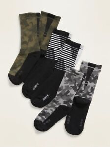 Old Navy Boys Go Dry Crew Socks 3-Pack ~ Moisture Wicking ~ NWT ~ Size S,M or L