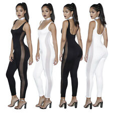 Abito tuta Scollatura Nudo aderente Trasparente Mesh Insert Jumpsuit Clubwear XL