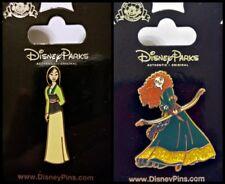 Disney Parks 2 Pin Lot Mulan Princess + Brave Merida with bow