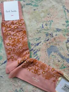 Paul Smith Mens Italian Socks 'Japanese Floral' Pink Brown K662 One Size Cotton