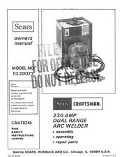 Craftsman 113.201372 Arc Welder Owners Instruction Manual
