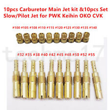 10pcs Carburetor Main Jet kit &10pcs Set Slow/Pilot Jet for PWK Keihin OKO CVK