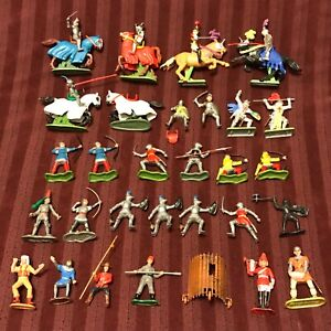 Mixed Lot Britains Swoppet Deetail Elastolin Toy Soldiers Horses Knights + Misc