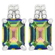 MYSTIC TOPAZ & DIAMOND & SILVER  EARRINGS 2.73 CWT WHITE GOLD LOOK