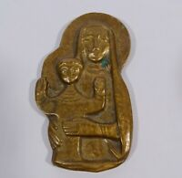 Bronze Plakette Relief Maria Mutter Gottes mit Jesus Kind modern