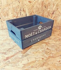 Rustic And Vintage Wooden Moet Champagne Crate in Grey - Box Storage