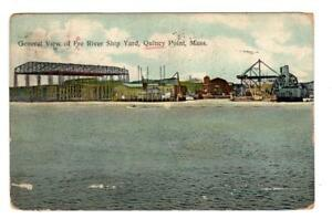 MA - QUINCY POINT MASSACHUSETTS 1910 Postcard FORE RIVER SHIP YARD