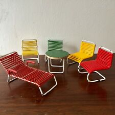 More details for dolls house furniture bodo hennig spaghetti chairs, table & sunlounger (1950s)