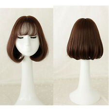 Dark Brown Lady Girl Short Bob Hair Cosplay Daily Party Natural Syntheitc Wig