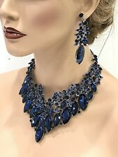 Wedding Bridal jewelry set Chunky Navy blue crystal bib necklace earrings