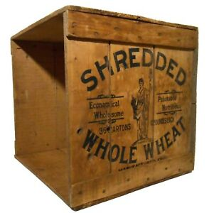 EARLY 20TH C AMERICAN VINT SHREDDED WHOLE WHEAT WOOD BOX CEREAL CRATE W/BLK INK