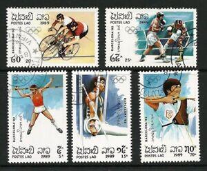 Laos 1989 - Barcelona Olympics (5) CTO