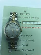 PRE-OWNED ROLEX DATEJUST 36mm PYRAMID DIAL 18K TWO TONE WATCH SERIAL 16233