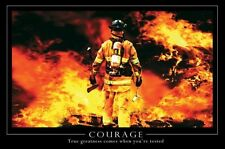 "Courage motivational poster 24x36"" Fire Fighters fireman"