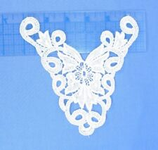 "6 Pieces - White Embroidered Rayon Venise Medalian Applique 6"" x 6"""