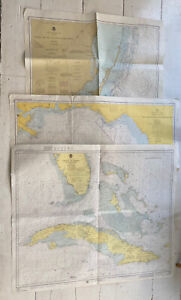 Vintage Lot (3) FLORIDA Nautical Charts ~ Keys Cuba Caribbean 1970s Maps