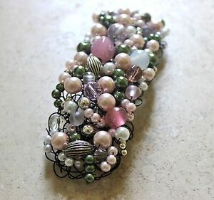 HAIR Accessory Pink Silver Pearls Barrette JEWELRY METAL CROCHET USA NEW Unique!