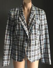 Retro Blue, White & Red Check SPORTSGIRL Lightweight Jacket/Blazer Size 12