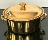 "Vintage Hall China Golden Glo 8-1/2"" Roaster Carbone Lidded Dish 22k Gold Rare"
