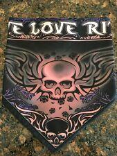 "Black and Light Pink ""Live Love Ride"" Fleece Lined Biker Bandana"
