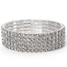 Silver Tone Crystal Clear Diamonte / Diamante 5 Row Stretchy Bracelet -