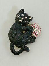 DANECRAFT Kitten Brooch Glittered Cat Retro Black Enamel Pink Rhinestones Yarn