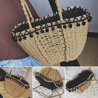 Stylish Large Handmade Straw Woven Beach Tote Knit Shoulder Bag Outdoor Handbags