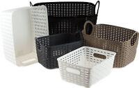 Set of 2 Faux Rattan Plastic Storage Baskets