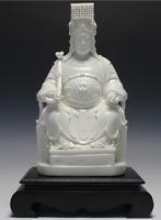 "12"" Dehua Porcelain Myth Dragon Ruyi Matsu Ma Zu Queen Mother Goddess Statue"