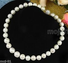 """Genuine Large 12-13mm Natural White Freshwater Cultured Pearl Necklace 18"""" AAA+"""