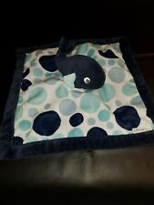 Carter's Whale Lovey Security Baby Blanket Blue Polka Dots Plush