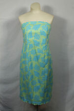 Lilly Pulitzer Strapless Conch Sea Shell Dress Lime Green Blue Ruffle Trim Sz M