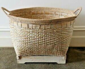 Basket, large, handmade, rattan, white wash, storage, decorative, home decor