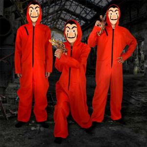 Unisex Money Heist TV Bank Robber Red Jumpsuit Costume  Salvador Dali Mask S-XXL