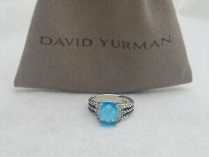 David Yurman Sterling Silver Petite Blue Topaz & Diamond Wheaton Ring Size 6