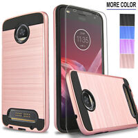 For Motorola Moto Z Z2 Force Z3 Play Phone Case Cover +Tempered Glass Protector