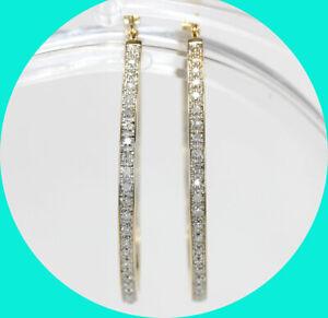 ".20CT diamond inside & out style hoop earrings 14K YG 1/2"" 5.5 GM"