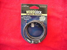 Word Lock Stainless Steel Cable Combination Lock 4 Foot Long Black Great New