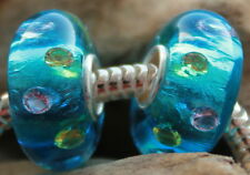 Turquoise Silver Foil Zirconia Inside 925 Sterling Silber Bead Murano Glas Beads