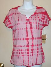 Nine West Vintage America Collection Tie Dye Short Sleeve T-Shirt Rose S NWT
