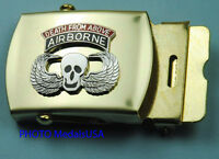 DEATH FROM ABOVE AIRBORNE Paratrooper blue Web Belt & Brass Buckle