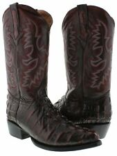 Mens Black Cherry Western Cowboy Boots Crocodile Tail Design Casual Boots J Toe