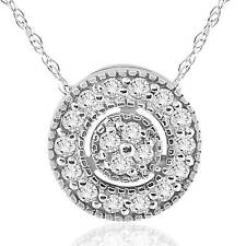 "1/4 ct Diamond Pave Halo Pendant 14K White Gold Womens Necklace & 18"" Chain"