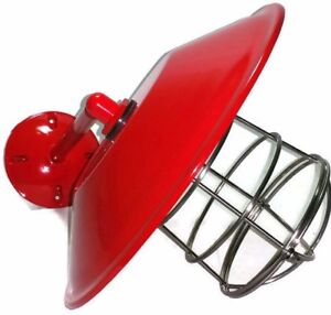 """Red Barn Light, Gas Station Lamp 12"""" with Cage, Wall Mount Man Cave Cord Opt"""