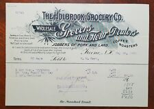 1902 Holbrook Grocery Co., Grocers & Coffee Roasters, Keene, N.H. USA Invoice
